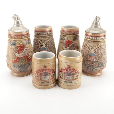 """Budweiser Commemorative """"100 Year Anniversary"""" Ceramic Mugs and Steins, 1976"""