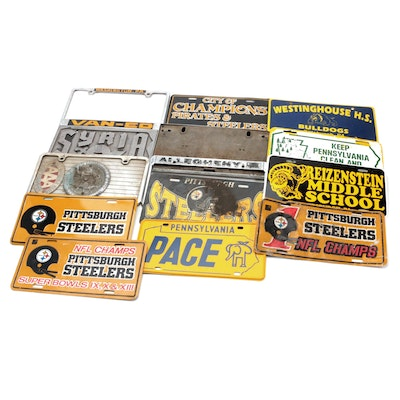 Pittsburgh License Plate Covers, Frames, Including Steelers Super Bowl Champs