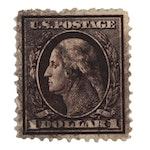 1909 Washington $1 Violet/Brown Stamp, Scott #342