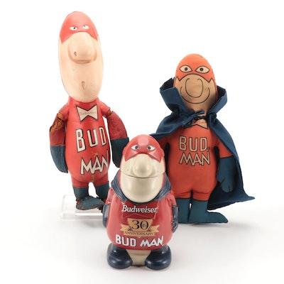 "Budweiser ""Bud Man"" Beer Stein with Two Stuffed ""Bud Man"" Dolls, Late 20th C."