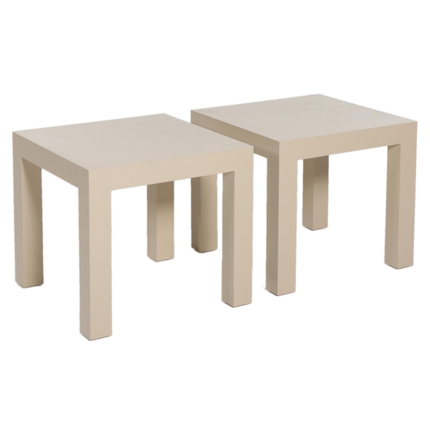 Pair of Options Plus Parsons Style Laminate Side Tables