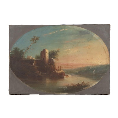 Coastal Sunset Bay Oil Painting, Mid to Late 19th Century