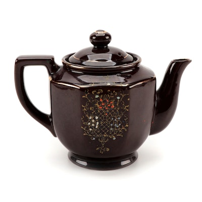Japanese Teapot with Moriage Accents, Mid-20th Century