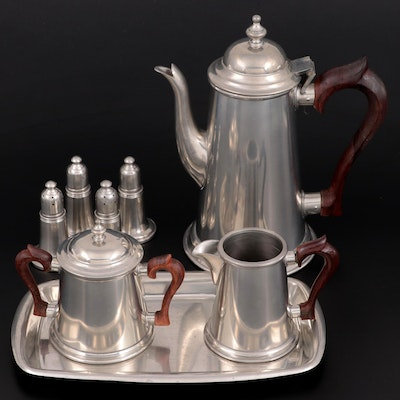 Stieff Pewter Coffee Service with Other Pewter Tableware