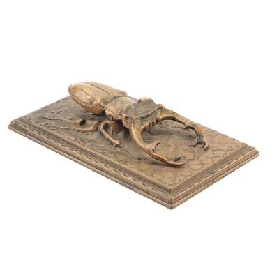 Art Nouveau Gilt Bronze Mechanical Stag Beetle Desk Clip