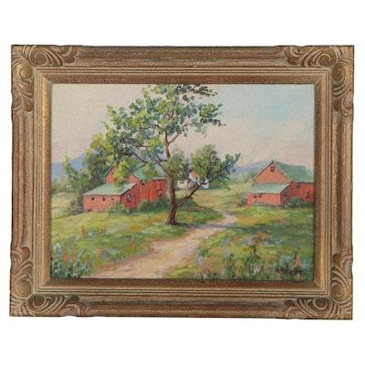 Elizabeth Stevens Street Landscape Oil Painting of Houses with Grassy Fields