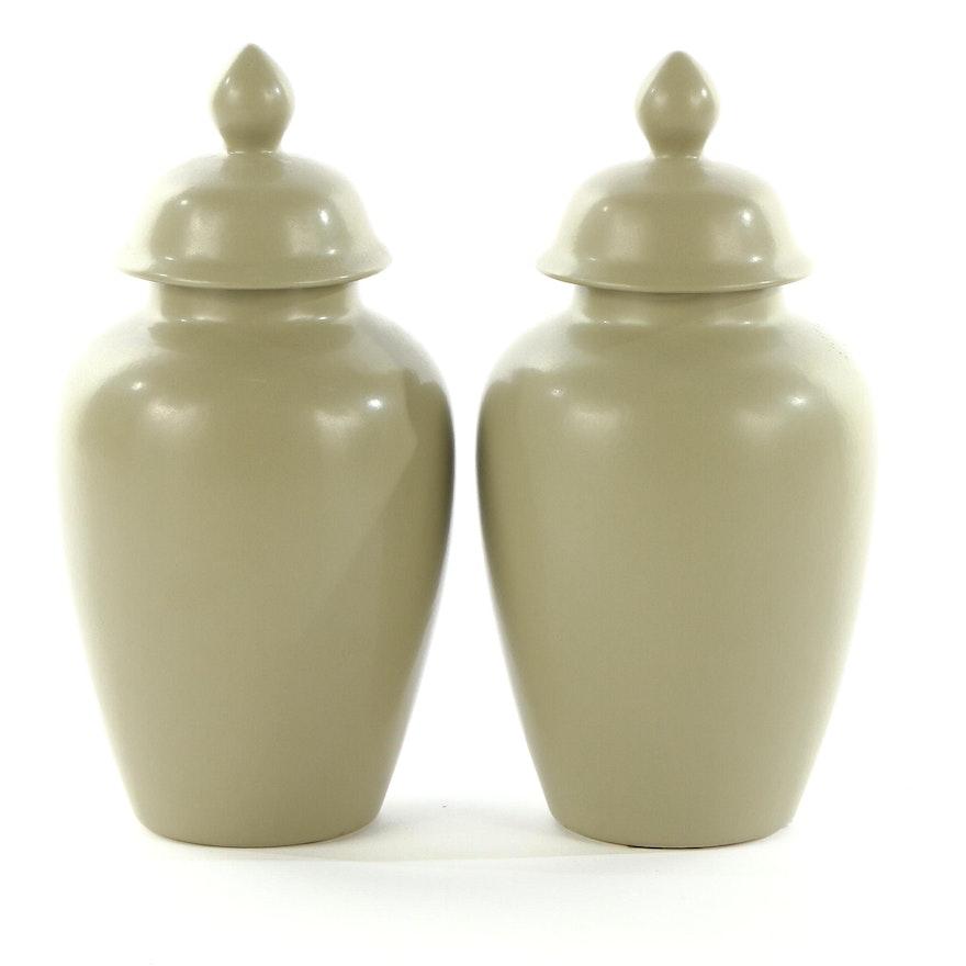 Haeger Pottery Sage Green Ceramic Urns