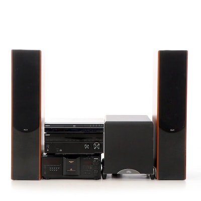 """Sony Audio/Video, System with KLH T-5 Speakers, Klipsch 10"""" Subwoofer"""