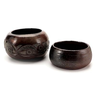 Handmade Artisan Pottery Bowls, Late 20th Century