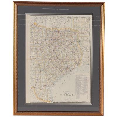 "George F. Cram Wax Engraving Railroad Map ""Eastern Half of Texas,"" 1905"
