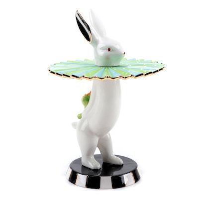 "Mackenzie-Childs ""Courtly Check Cirque Rabbit"" Tall Tidbit Tray"