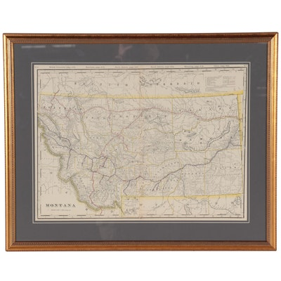 "George F. Cram Wax Engraving Railroad Map ""Montana,"" circa 1900"
