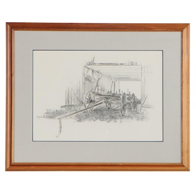 Marion Cook Graphite Drawing Farm Equipment, 1974