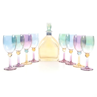 Italian Colorful Glass Decanter and Stemware Collection