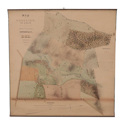Hand-Colored Lithograph Survey Map of Woodside, circa 1868
