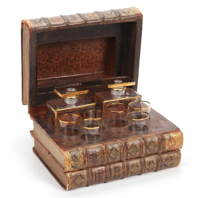 Antique Faux Book Mini Bar with Tantalus Decanters and Glasses
