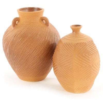 Haeger Pottery Textured Ceramic Floor Vases