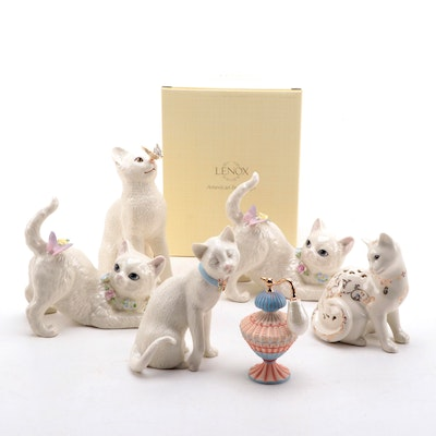 """Lenox """"Eye To Eye"""" """"Fluttering Friend"""" and Other Lenox Cat Figurines"""