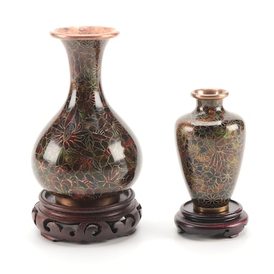 Chinese Cloisonné Thousand Flowers Vases on Wood Stands