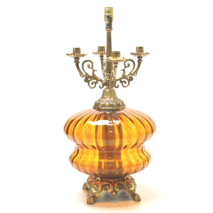 EF & EF Industries Amber Glass 5-Light Table Lamp, 1970s