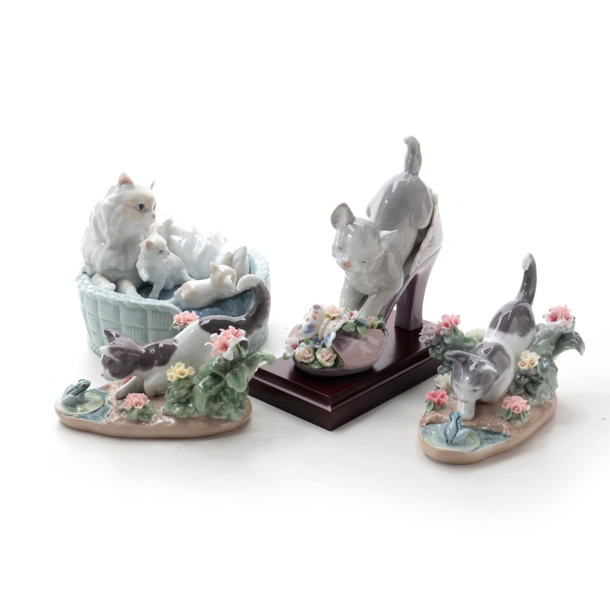 """Lladró """"Kitty Confrontation"""" Designed by Juan Huerta and More Porcelain Cats"""