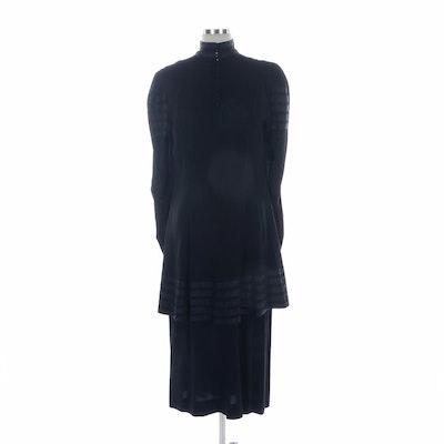 Two-Piece Black Knit Dress Set with Black Ribbon Trim