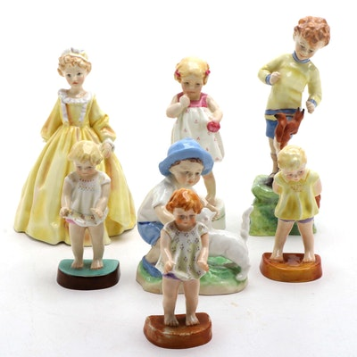 "F.G Doughty Royal Worcester Porcelain Figurines Including ""Grandmother's Dress"""