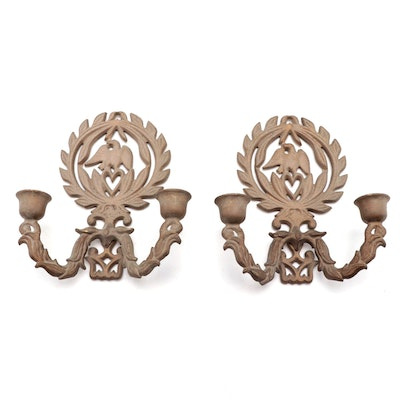 Federal Style Gilt Cast Iron Eagle Candle Sconces, Mid-20th  Century
