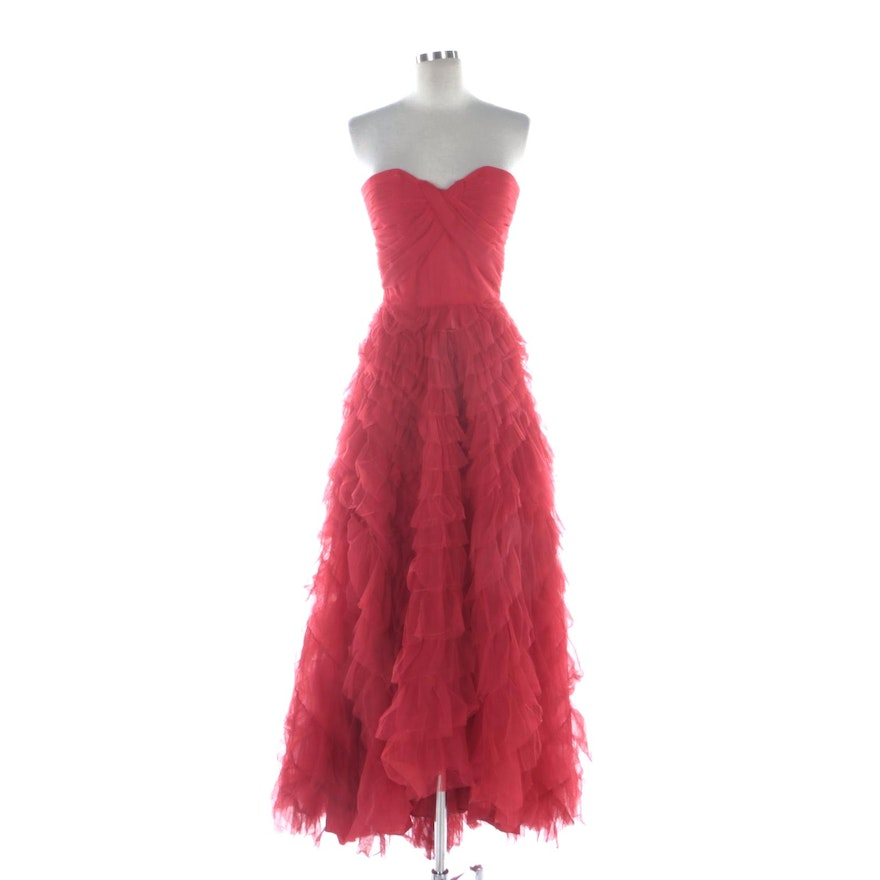Henry Harris Tiered Tulle Ruffle Strapless Dress with Sweetheart Neckline