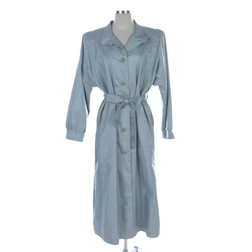 David Benjamin Blue Light Weight Coat with Batwing Sleeve and Pleating Detail