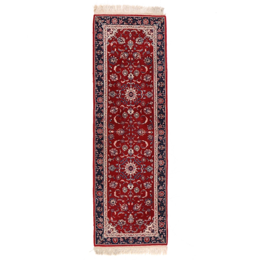 2'5 x 8'5 Hand-Knotted Indo-Persian Isfahan Floral Carpet Runner
