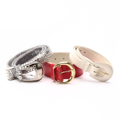 Silver Tone Metal Mesh, Off-White Leather and Other Belts