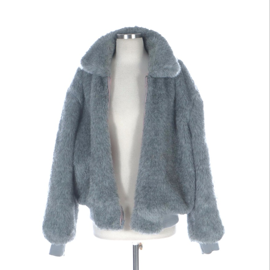 Minque Grey Faux Fur Bomber Jacket