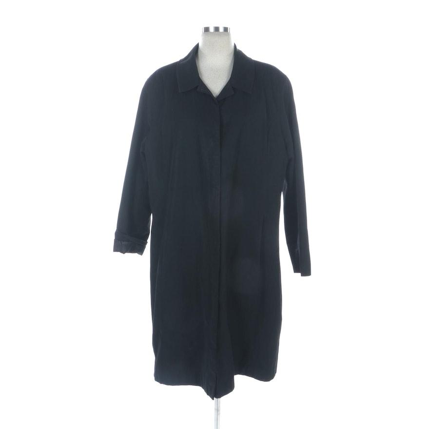 Jones New York Black Lined Raincoat