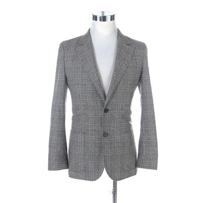 Men's E. Thomas Plaid Wool and Cashmere Elbow Patch Two-Button Blazer
