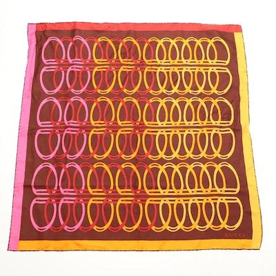 Gucci Silk Twill Scarf in Interlocking Stirrup Pattern
