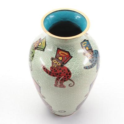"Cloisonné ""See No Evil, Hear No Evil, Speak No Evil"" Vase, Mid to Late 20th C."