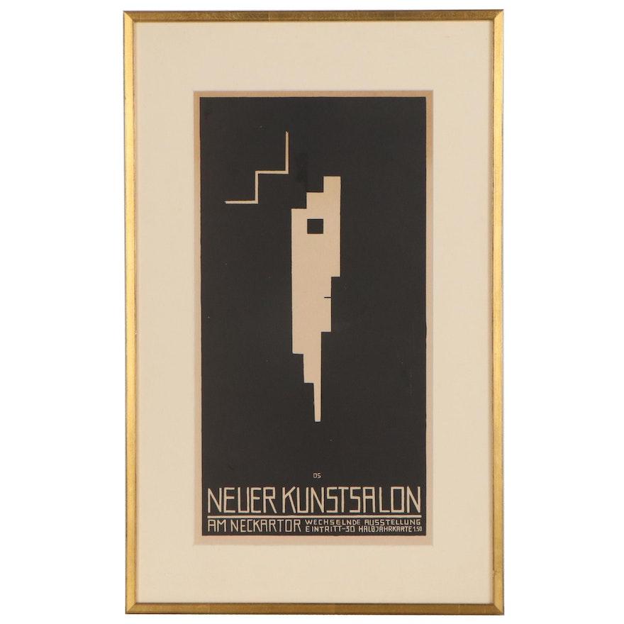 """Oskar Schlemmer Lithograph """"Neuer Kunstsalon,"""" Early 20th Century"""