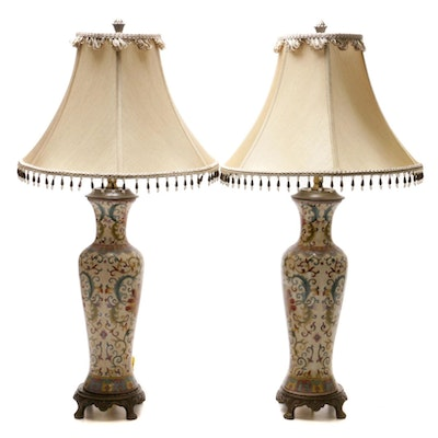 Chinese Ceramic Baluster Vase Style Table Lamps with Beaded Shades