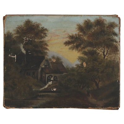 American School Oil Painting of Watermill in Forest, Early-Mid 19th Century