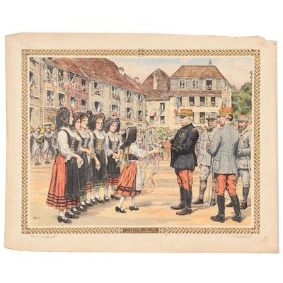 """Th. Smid Hand-Colored Lithograph """"Le Général Joffre l'Alsace Reconquise"""""""