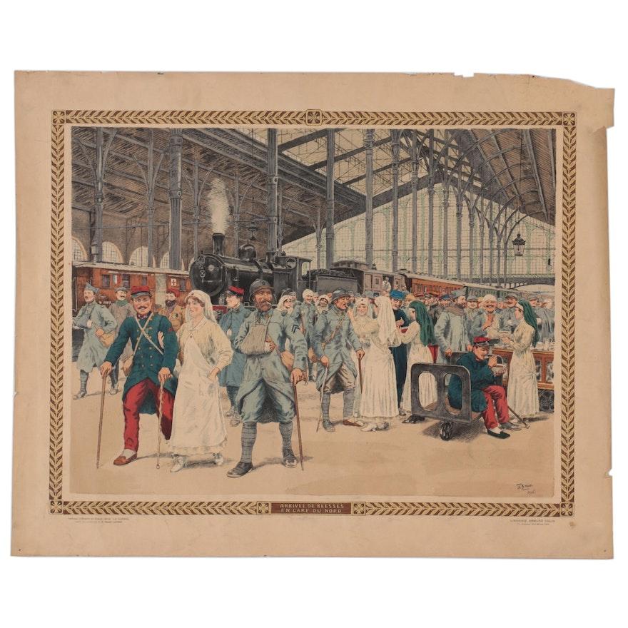 """Th. Smid Hand-Colored Lithograph """"Arrivée de Blésses en Gare Du Nord"""""""