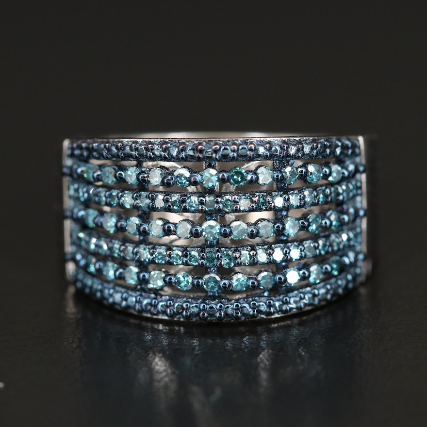 Sterling Blue Diamond Multi Row Tapered Band