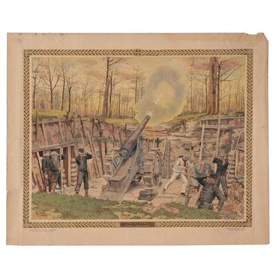"""Th. Smid Hand-Colored Lithograph """"Un '155' Long Dans l'Argonne,"""" Circa 1916"""