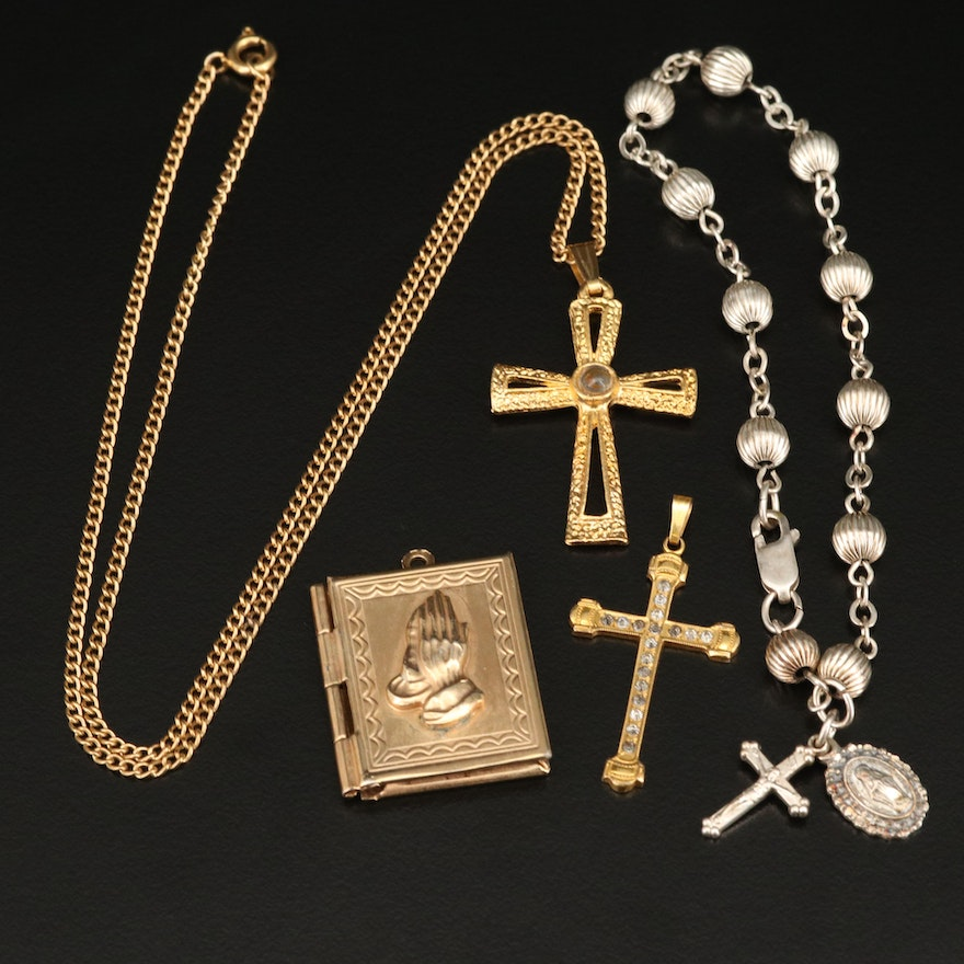 Bible Locket, Cross Pendant and Necklace with Sterling Rosary Bracelet