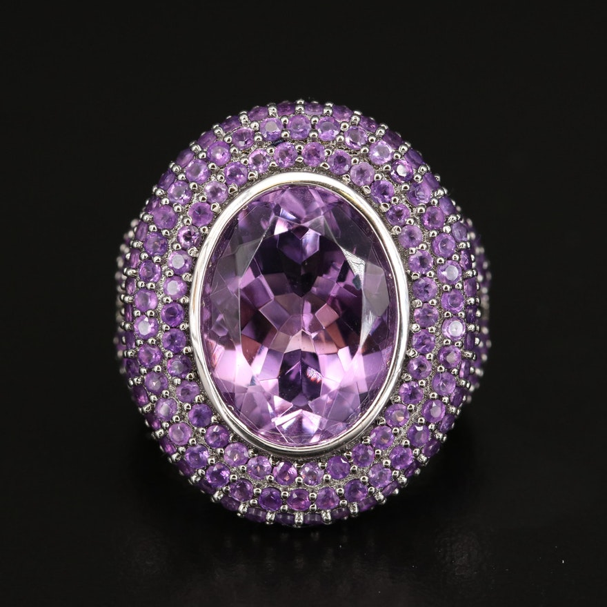 Sterling Amethyst Ring with Pavé Halo and Shoulders