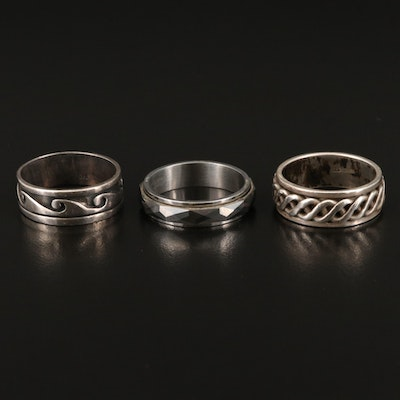 Sterling Silver, Tungsten Carbide and Stainless Steel Spinner Rings