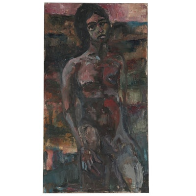 Oil Painting of Abstracted Nude Figure, Mid to Late 20th Century
