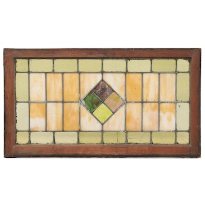 Geometric Stained Glass Window Panel,  Early to Mid 20th Century