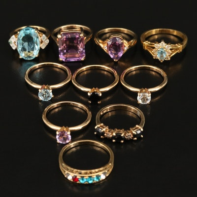 Amethyst, Topaz and Rhinestone Rings Including Sterling Silver